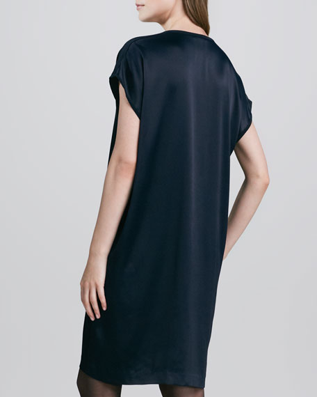 Loose Split-Neck Shift Dress
