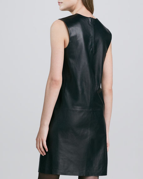 Leather V-Neck Dress