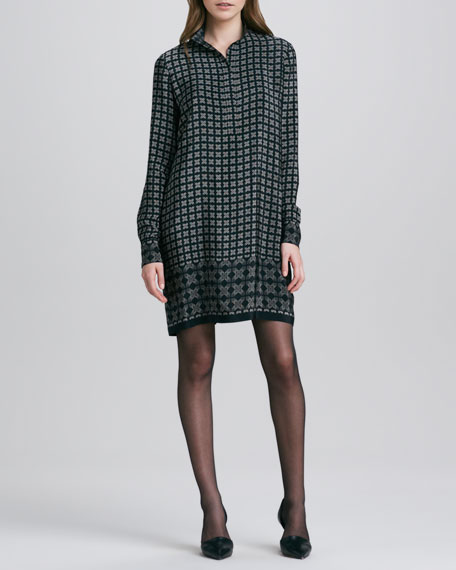 Long-Sleeve Printed Shirtdress