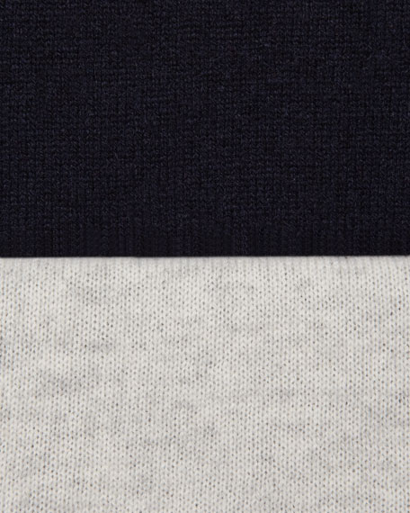 Contrast-Sleeve Cashmere Sweater