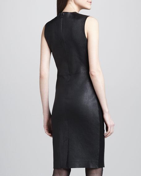 Ponte-Side Leather Dress