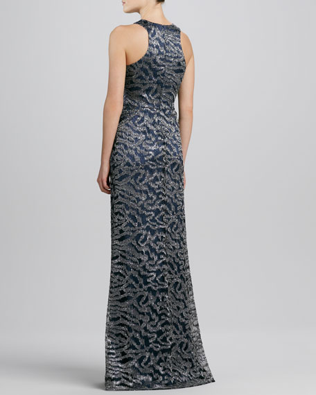 Sleeveless Curvy Sequined Lace Gown