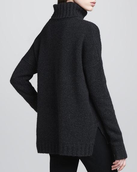 Rib-Trim Knit Turtleneck, Charcoal