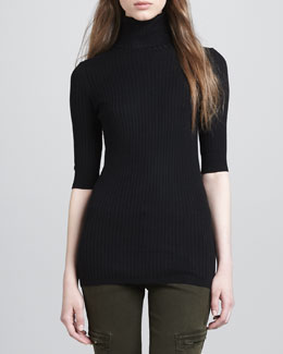 Vince Slim Ribbed Turtleneck Sweater