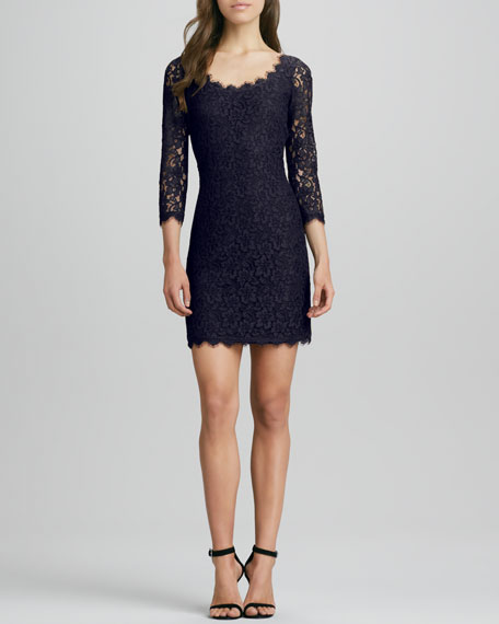 Zarita Scoop-Neck Short Lace Dress