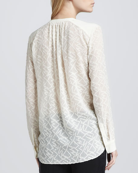 Solid-Trim Sheer Embroidered Blouse