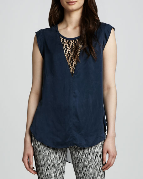Lace-Trimmed Cap-Sleeve Tee