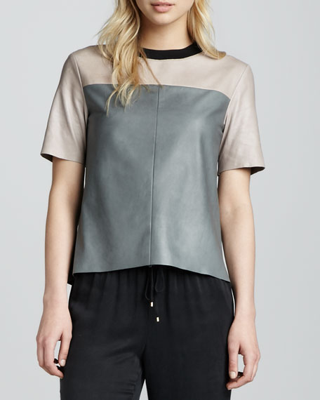 Colorblock Leather Tee