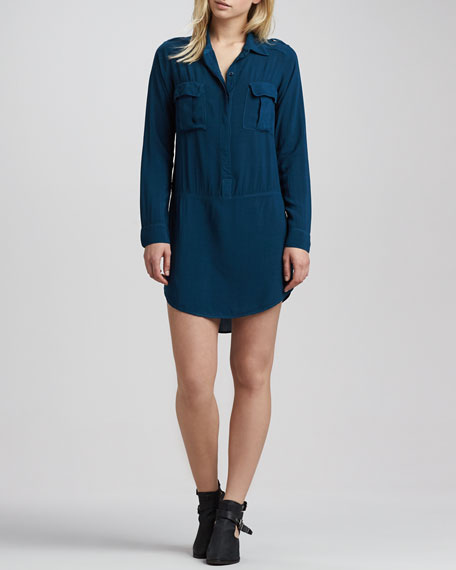 Drop-Waist Pocket Shirtdress