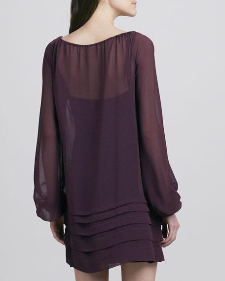 Long-Sleeve Chiffon Dress