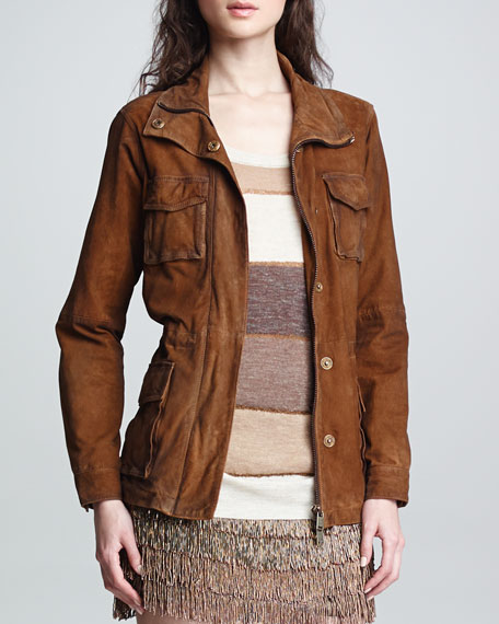 Distressed Suede Cargo Jacket