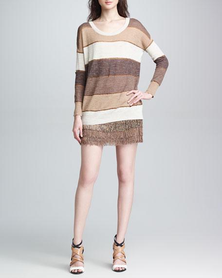 Ombre Beaded Fringe Skirt