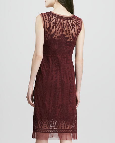 Embroidered-Mesh Sleeveless Dress