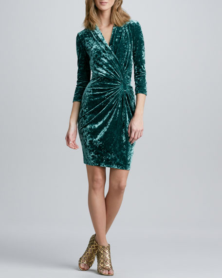 Faux-Wrap Crushed Velvet Dress