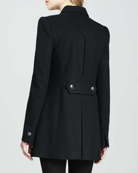 Monaco Leather-Panel Coat