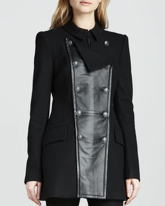 Monaco Leather-Panel Coat