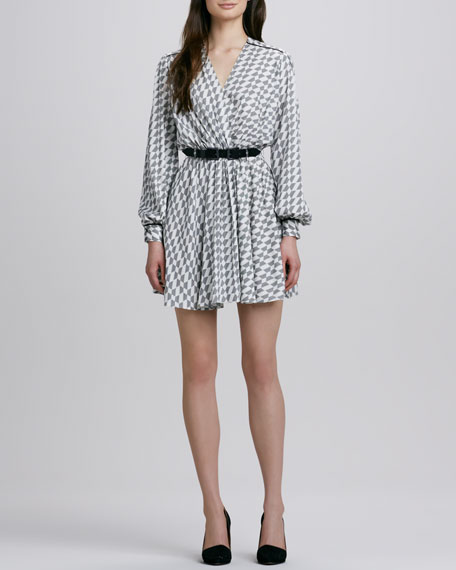 Meryl Micro-Houndstooth Wrap Dress