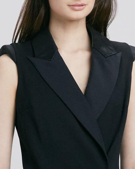 Cambridge Tuxedo Leather-Collar Dress
