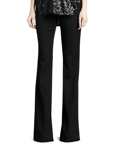 Rachel Flared Tuxedo Wool Pants, Black