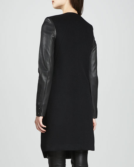 Emilie Leather-Sleeve Wool Coat