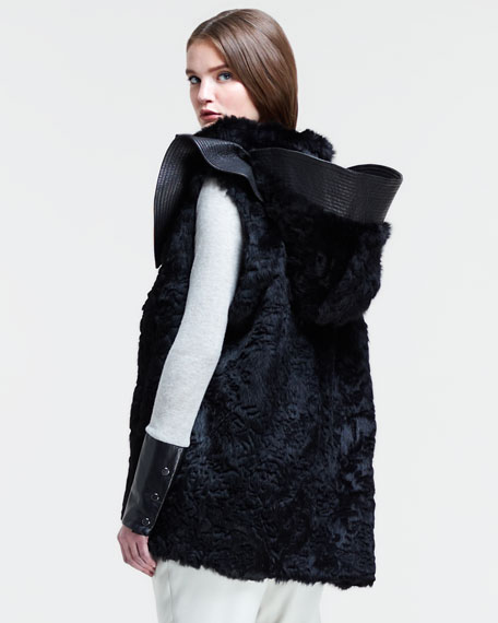 Hooded Rabbit Fur Vest