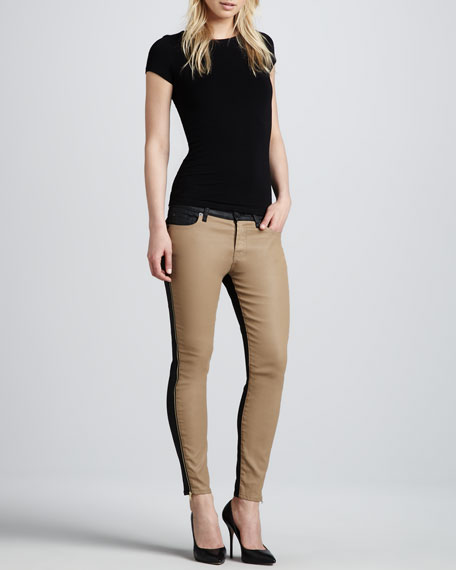 The Pieced Ankle Skinny in Khaki and Leather