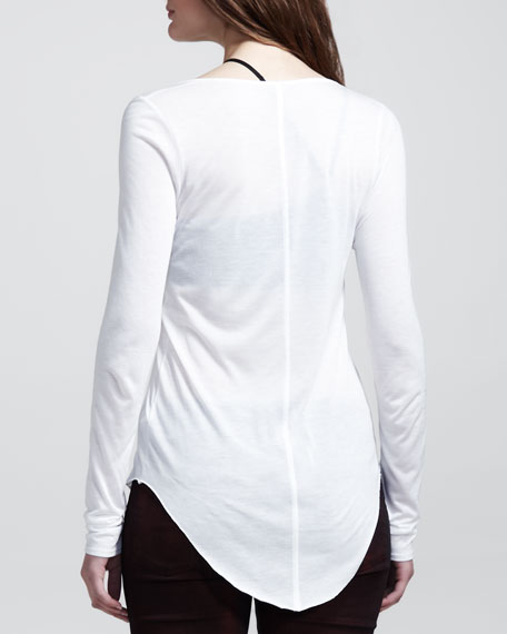 Long-Sleeve Double-Shirttail Tee, Optic White