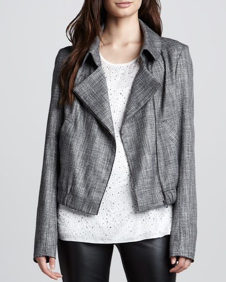 Relaxed Plaid Zip Jacket