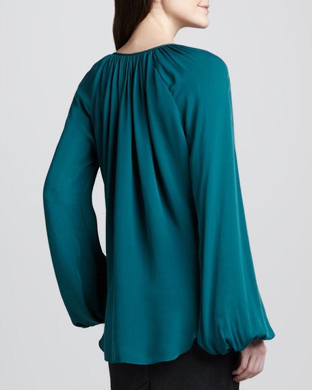 Loose Silk Peasant Blouse