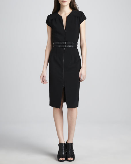 Front-Zip Crepe Dress