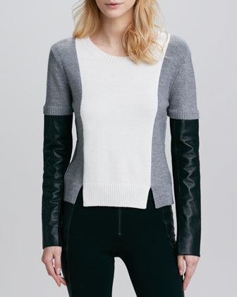 Sabine Leather-Sleeve Sweater, Heather Gray