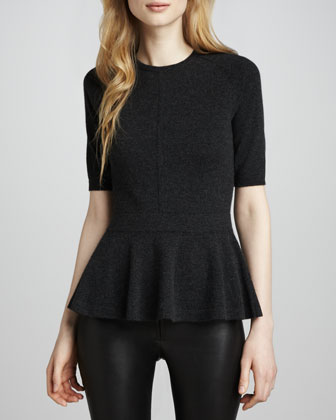 Cashmere Half-Sleeve Peplum Top, Pepper