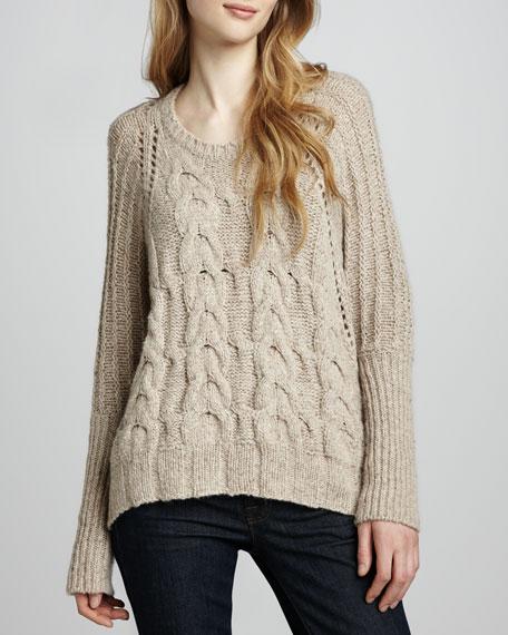 Chunky Cashmere Hi-Lo Sweater, Sandpaper