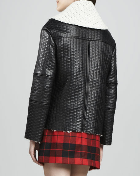 Carrie Textured-Leather Double-Collar Jacket