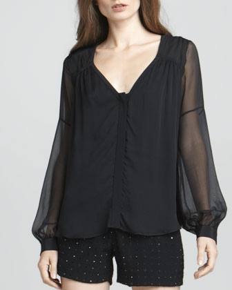 Lane Sheer-Sleeve Blouse
