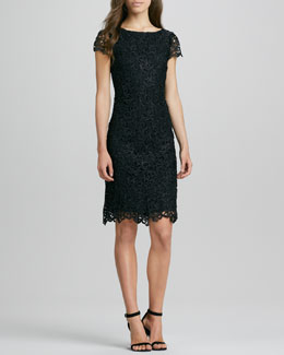 Alice + Olivia Clover Lace Open-Back Dress