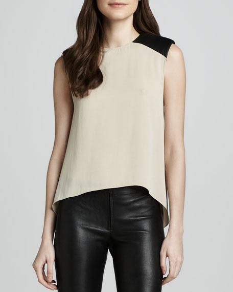 Leather-Shoulder Hi-Lo Top