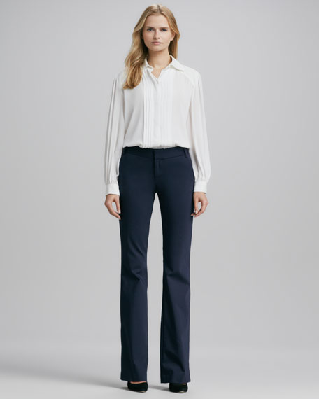 Stacey Twill Flat-Front Pants