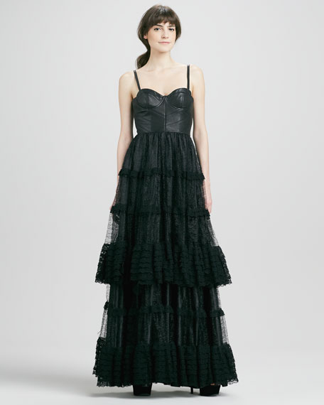 Zoe Leather-Top Lace-Skirt Gown