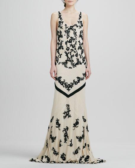 Abigail Beaded Open-Back Gown