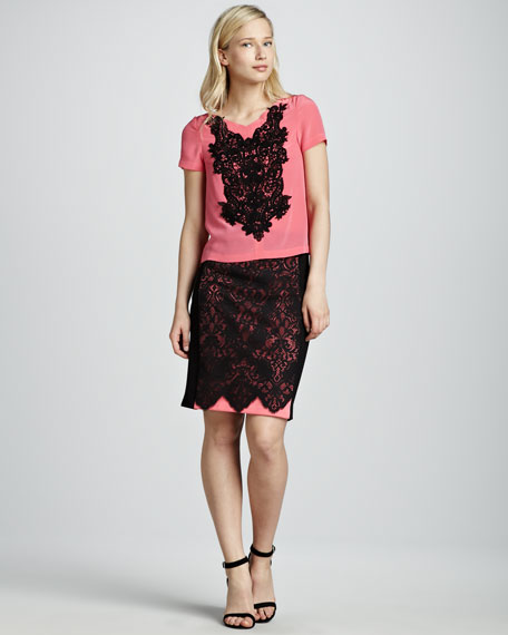 Cotton Candy Lace Pencil Skirt