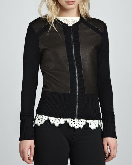 Leather-Panel Knit Cardigan