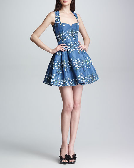 Sweetheart-Neck Floral Fit-and-Flare Dress, Blue