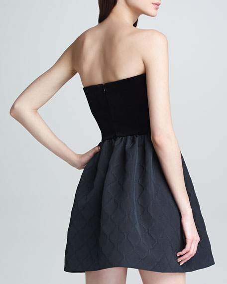 Strapless Velvet Diamond Jacquard Dress, Black