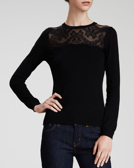 Lace-Yoke Wool Sweater, Black