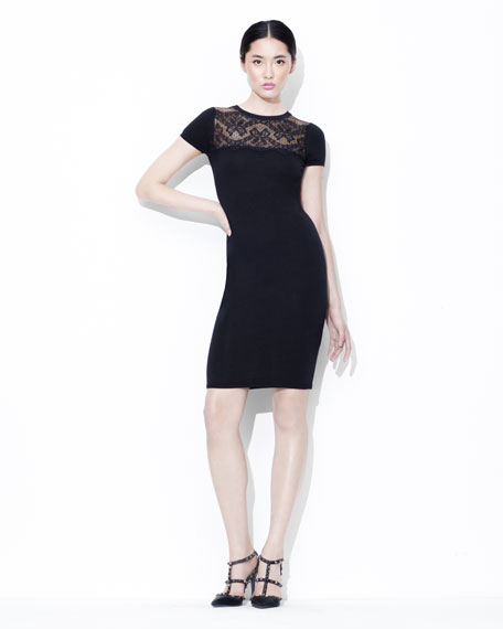 Lace-Yoke Short-Sleeve Sheath Dress, Black