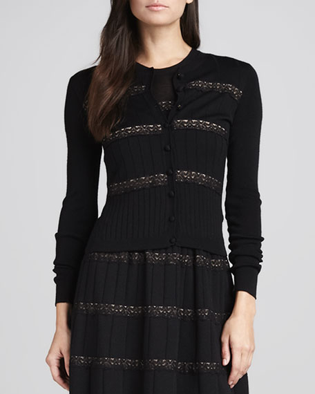 Lace-Ribbon Merino Wool Cardigan, Black