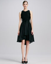 Carmen Marc Valvo Jewel-Neck Full-Skirt Dress