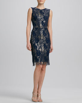 Kalinka Jewel-Neck Cocktail Dress