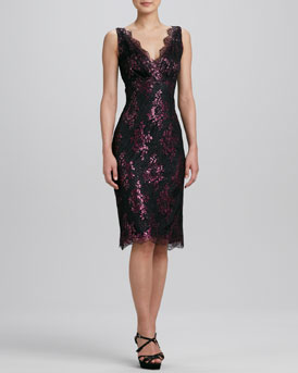 Kalinka Pink Metallic Floral Lace Cocktail Dress